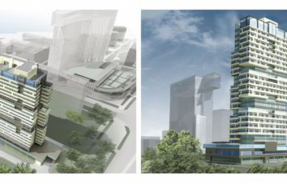 Mixed-use residential cluster with office complex, preschool facilities for 60 kids and underground parking